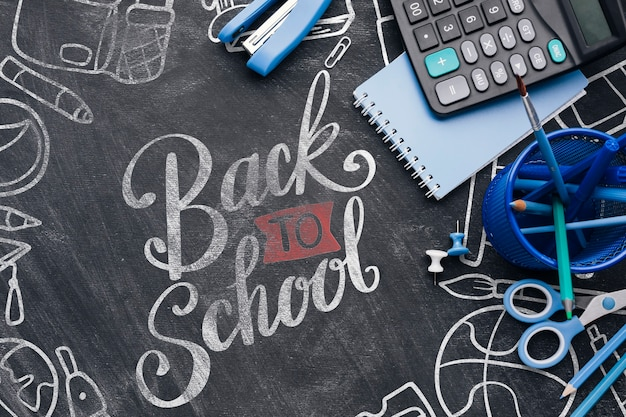 Back to school with blue office supplies