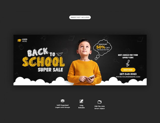 Back to school with discount offer facebook cover template