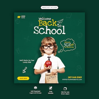 Back to school with discount offer social media post template