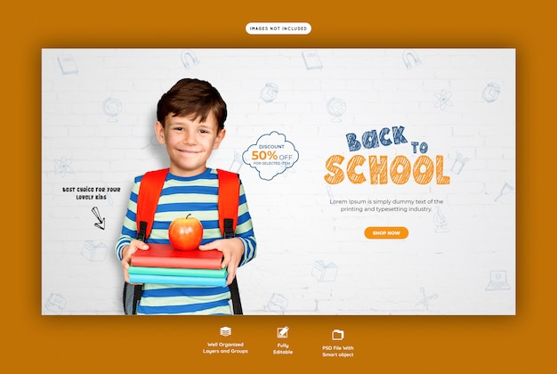 Back to school with discount offer web banner template