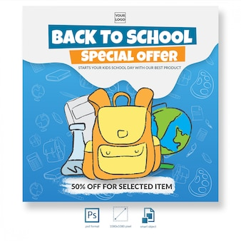 Back to school with hand drawn illustration discount offer social media post or banner template