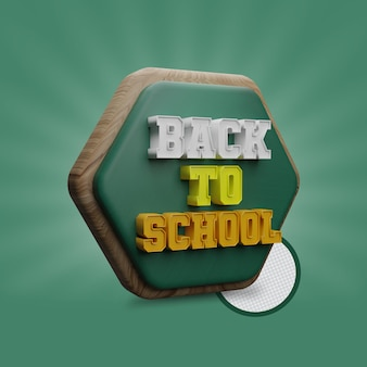 Back to school with polygon shapes 3d render