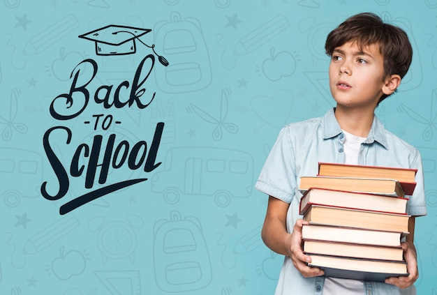 Back to school young cute boy mock-up