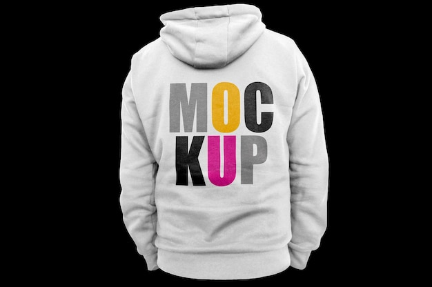 Back side white hoodie  mockup