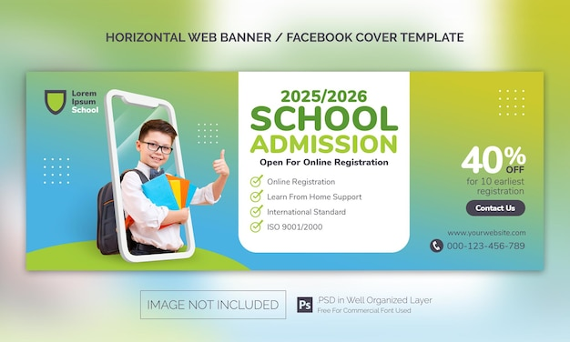 Горизонтальный баннер для поступления в школу или рекламный шаблон на обложке facebook