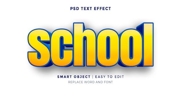 학교 편집 가능한 3d 스타일 텍스트 효과로 돌아 가기