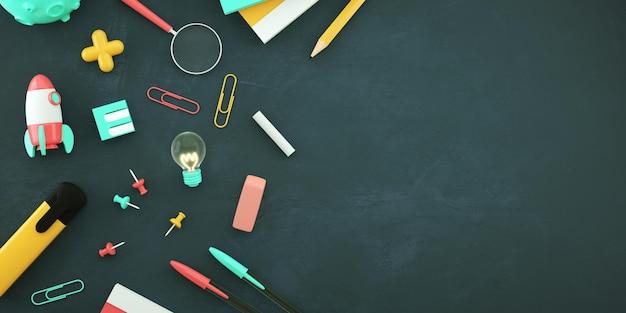 Снова в школу флаер фон с копией пространства и канцелярских принадлежностей на доске 3d иллюстрации