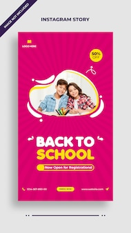 学校に戻るinstagramおよびfacebook投稿ストーリーテンプレート