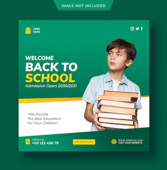 학교 인스 타 그램 게시물 또는 소셜 미디어 게시물 템플릿으로 돌아가기 premium psd