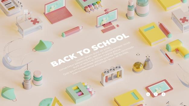 3dレンダリングオブジェクトの構成を含む学校に戻るランディングページテンプレート