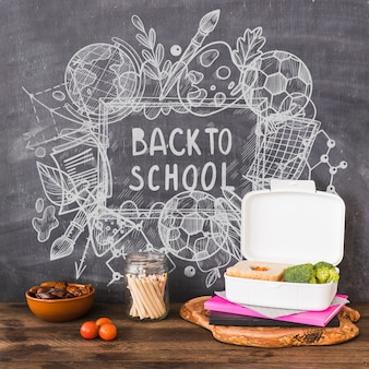 Back to school mockup with chalk on blackboard