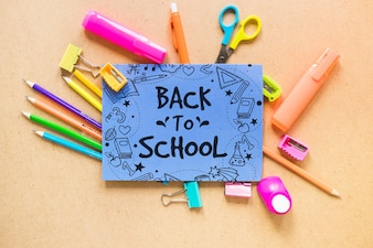 Back to school mockup with paper