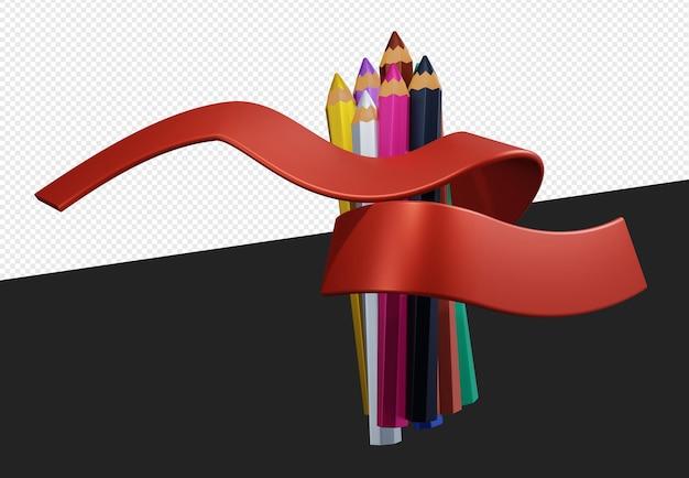 Снова в школу объект цветные карандаши с красной лентой изолированы
