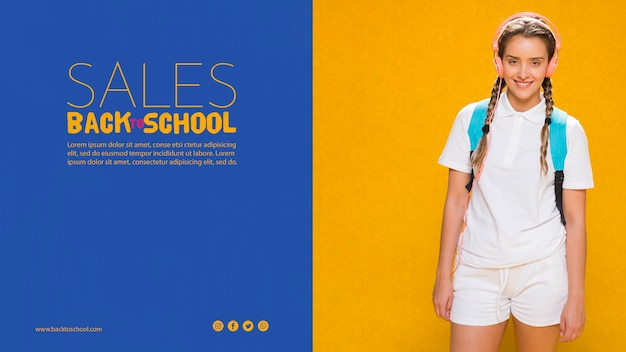 Снова в школу плакат с девушкой-подростком Бесплатные Psd