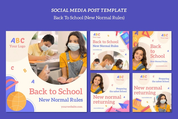 Шаблон сообщения в социальных сетях обратно в школу