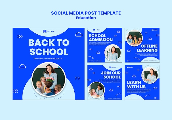 学校に戻るソーシャルメディアの投稿