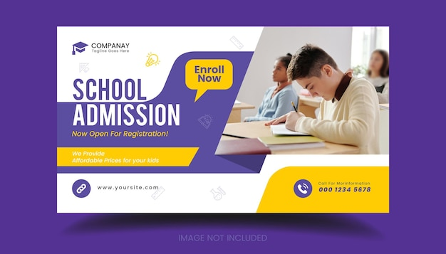 学校に戻るソーシャルメディアのウェブバナーチラシとfacebookのカバー写真デザインテンプレート