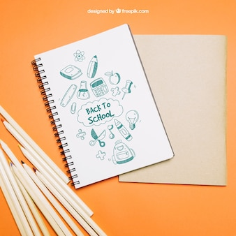 Back to school template with notebook