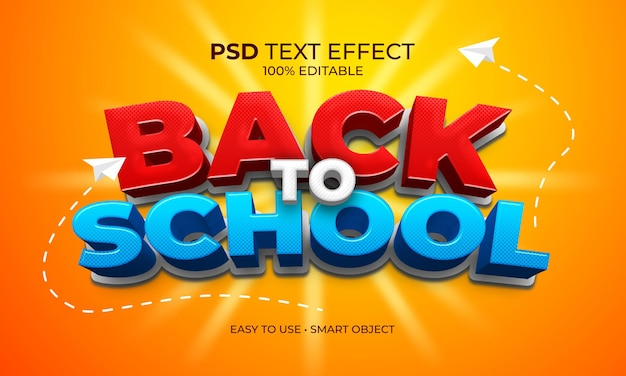 Назад к школе текстовый эффект