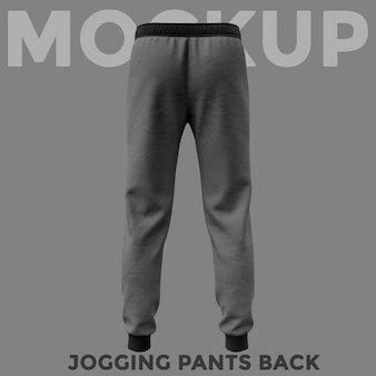 Back view gray sweatpants mockup