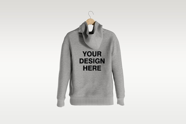 Back view hoodie mockup design isolated isolated