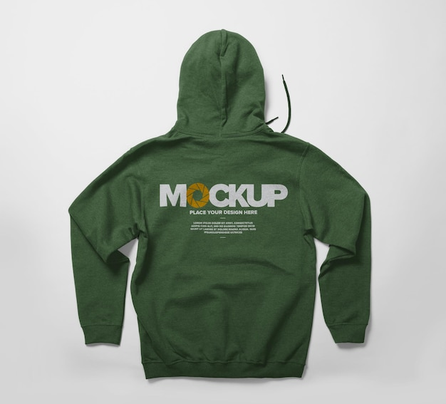 Back view of hoodie mockup design isolated