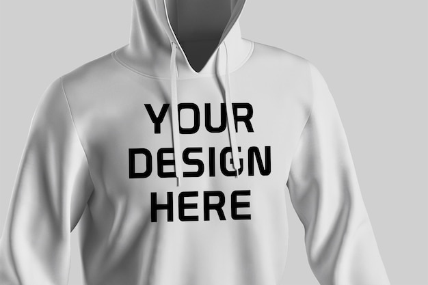 Back view hoodie mockup design isolated