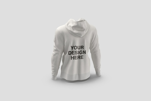 Back view hoodie mockup design rendering isolated