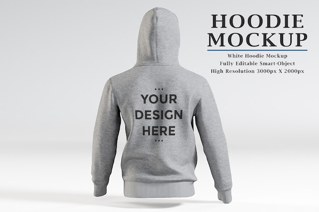 Back view hoodie mockup isolated
