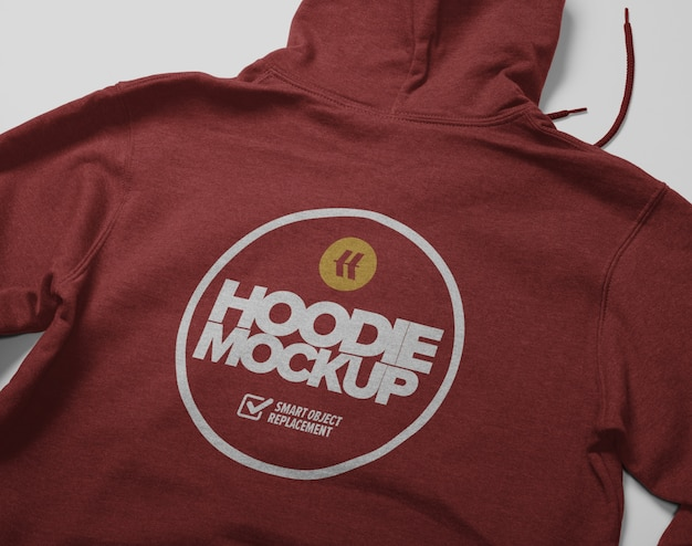 Back view of hoodie mockup isolated
