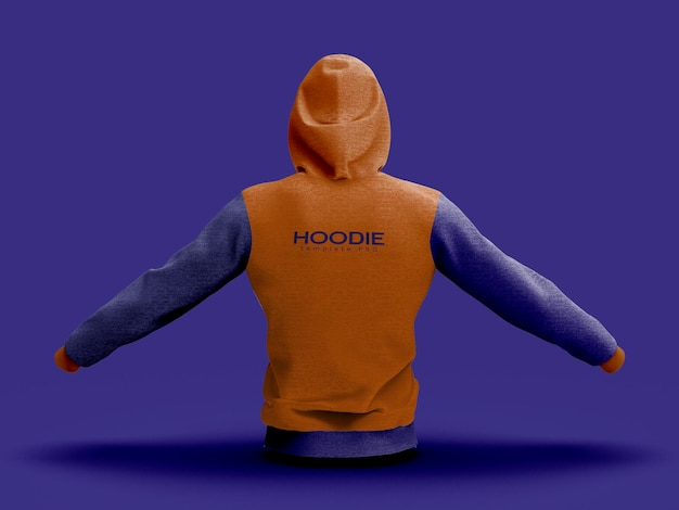 Back view of hoodie mockup