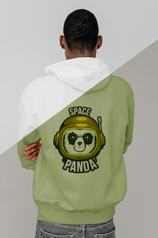 Back view of stylish man in hoodie Free Psd