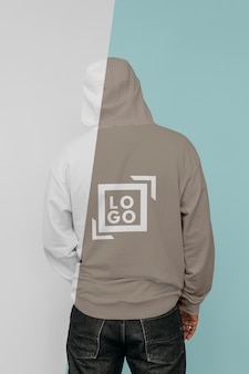 Back view of stylish man in hoodie