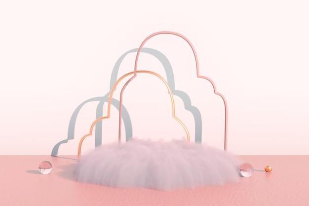 Фон 3d-рендеринг с подиумом и минимальной облачной сценой, минимальным фоном для отображения продукта.