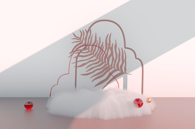 Background 3d rendering with podium and minimal cloud scene minimal product display background.