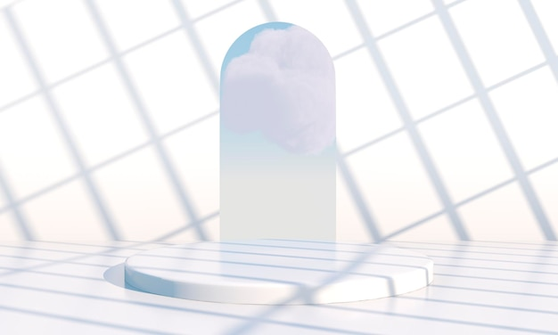 Background 3d rendering with podium and minimal cloud scene