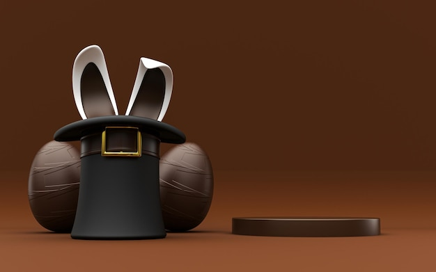 Background easter egg top hat with rabbit