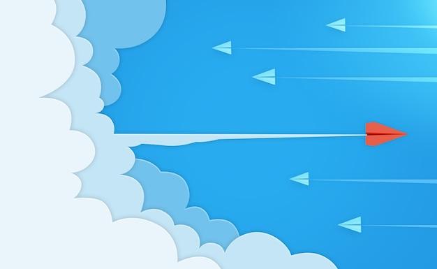 3dレンダリングでの紙飛行機と雲の背景