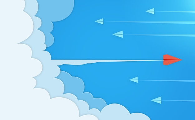 Background of paper airplane and cloud in 3d rendering