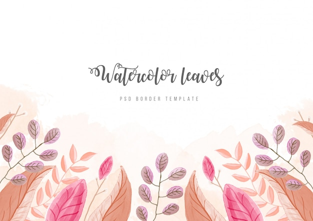 Background with watercolor flowers border psd template