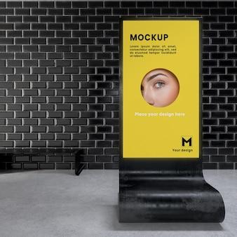 バックライト付きの近代的な都市の垂直モックアップ