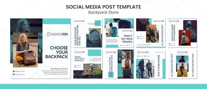Backpack store social media posts template