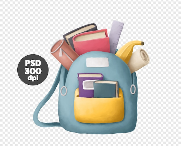 Backpack with books and notebooks illustration