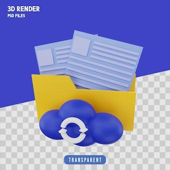 Значок резервного копирования файлов 3d рендеринг изолированный премиум