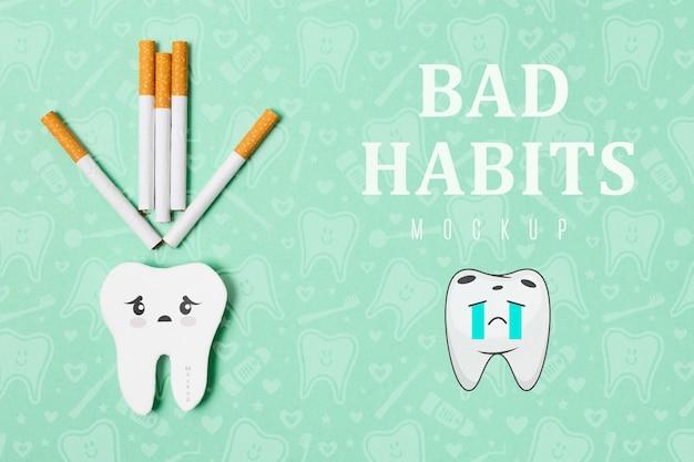 Плохие привычки зубной боли с макетом
