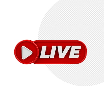 Badge 3d live stream red isolated