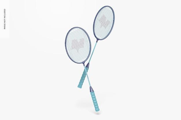 Mockup di racchette da badminton, galleggianti