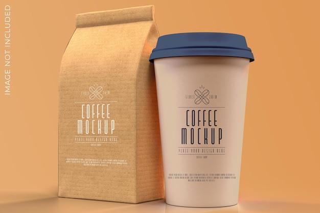 Bag and cup mockup