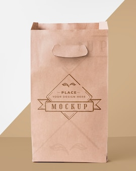 Bag mock-up on bicolor background