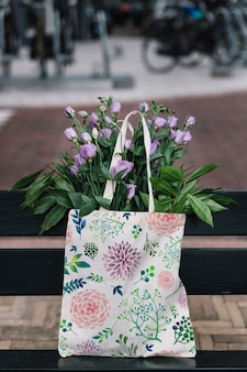 Bag mockup with flowers
